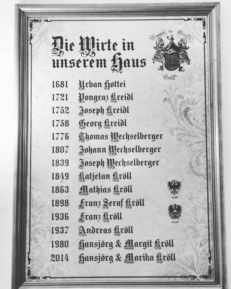 Wirte seit 1681 im Kramerwirt in Mayrhofen